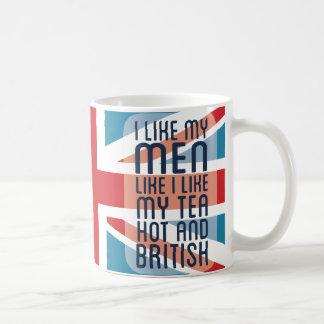 Hombres y té calientes y británicos tazas de café