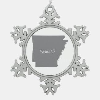Home <3 Arkansas Snowflake Pewter Christmas Ornament