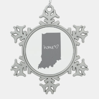 Home <3 Indiana Snowflake Pewter Christmas Ornament