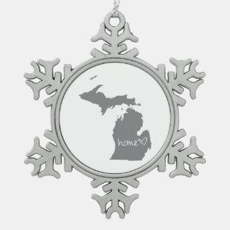 Home <3 Michigan Snowflake Pewter Christmas Ornament