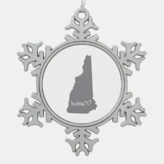 Home <3 New Hampshire Snowflake Pewter Christmas Ornament