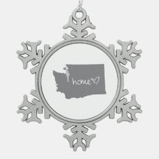 Home <3 Washington Snowflake Pewter Christmas Ornament