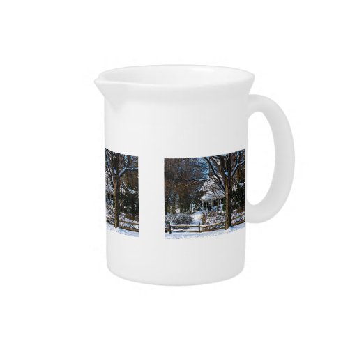 Home After the Snowstorm Beverage Pitcher
