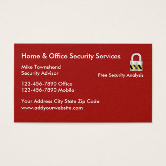 Home And Business Security Services Business Card