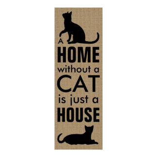 Home and Cat Typographic Poster