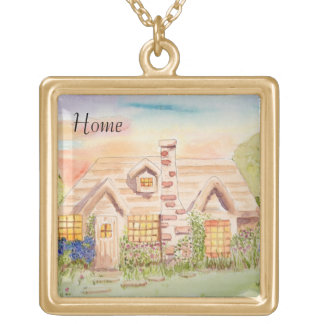 Home at Last Square Pendant Necklace