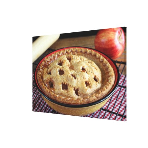 Home baked apple pie on cooling rack with apple stretched canvas prints