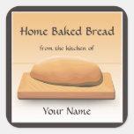 Home Baked Bread Label Sticker Square Sticker