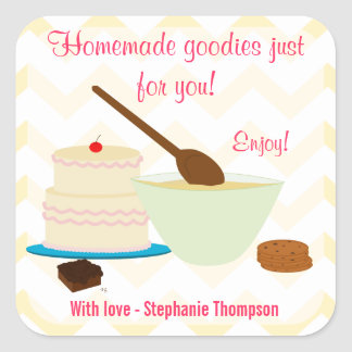 Home Baked Goodies Gift Tag Square Stickers