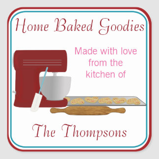 Home Baked Goodies With Love Square Sticker