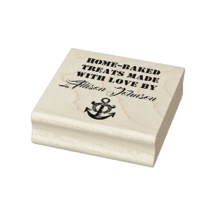Home Baked Treats Made With Love By YOUR NAME Rubber Stamp