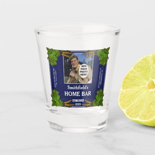 Home Bar Hops Barley Beer Custom Photo Name Blue Shot Glass