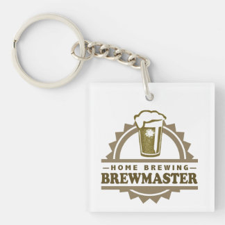 Home Brew Beer Brewmaster Single-Sided Square Acrylic Keychain