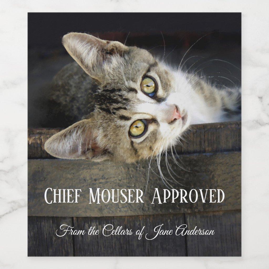Home Brew Funny Cat Wine Label