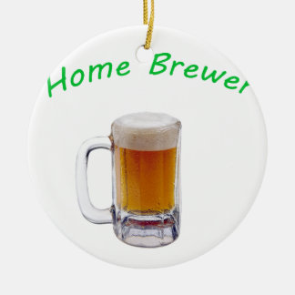 Home Brewer Double-Sided Ceramic Round Christmas Ornament