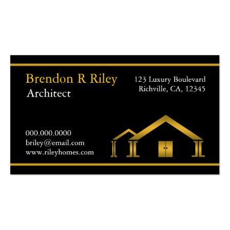Elegant Cream Black and Gold Classy Home and Building Residential Architect Business Card Template