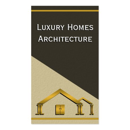 Gold Home Icon Stucco Wall Vertical Residential Architect Business Card Template