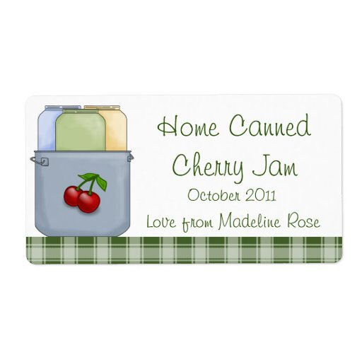 Home Canned Cherry Jam Jar Label (Personalize) Shipping Label