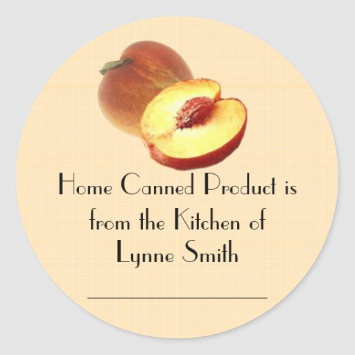 Home Canning Labels -- with Peaches Classic Round Sticker