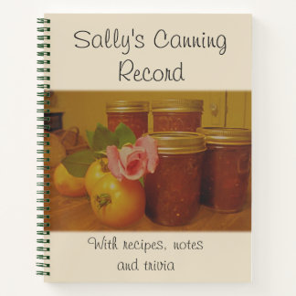 Home Canning, Preserving Record Notebook