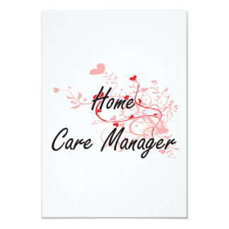Home Care Manager Artistic Job Design with Hearts 3.5x5 Paper Invitation Card
