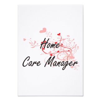 Home Care Manager Artistic Job Design with Hearts 5x7 Paper Invitation Card