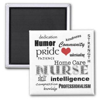 Home Care Nurse Attributes-Black on White 2 Inch Square Magnet