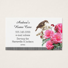 Home Care Pink Roses And Bird Business Card at Zazzle