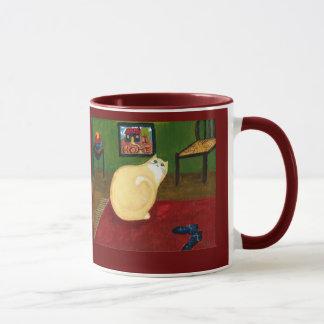 Home Cat Holiday Ringer Mug/ Green Border Mug