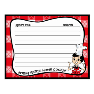 Home Cookin' Recipe Cards Post Cards