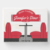 Home Cooking Name Chef Diner Retro Wooden Box Sign