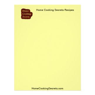 Home Cooking Secrets Recipe Stationary Letterhead