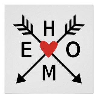 Home, crossed arrows with red heart poster