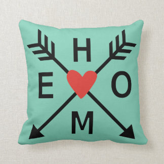 Family Home, crossed arrows with red heart throw pillow