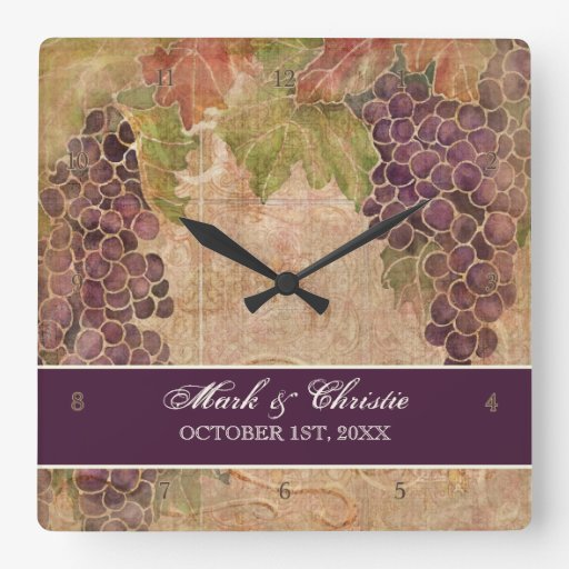 Grape Vineyard Wedding Personalized Square Wall Clock