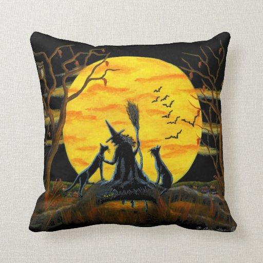 Comwitch Home Decor : Home,decor,pillow,Halloween,witch,bats,owl,spider  Zazzle