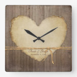 Home Decor Rustic Wood Fence Boards Heart Bridal Square Wall Clocks