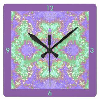 Home Decor Wall Clock On Purple Green