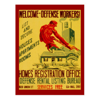 Home Defense Workers WWII Postcard
