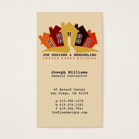 Colourful Houses Design Remodelling and Construction Business Cards Template