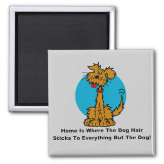 Home Dog Hair 2 Inch Square Magnet