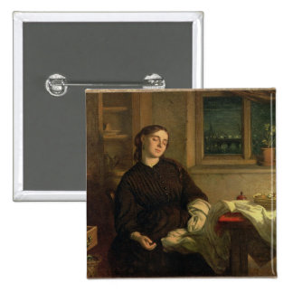 Home Dreams, 1869 (oil on canvas laid down on pane 2 Inch Square Button