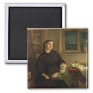 Home Dreams, 1869 (oil on canvas laid down on pane 2 Inch Square Magnet