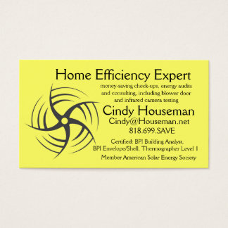 Home Efficiency Expert Energy Saving consultant Business Card