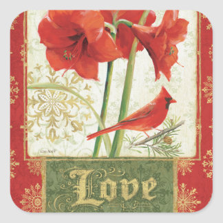 Home for Christmas Amaryllis Love Square Sticker
