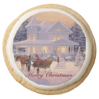 Home For Christmas Holiday Scene Cookies Round Premium Shortbread Cookie
