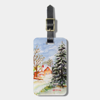 Home for Christmas Snowy Winter Scene Watercolor Bag Tag