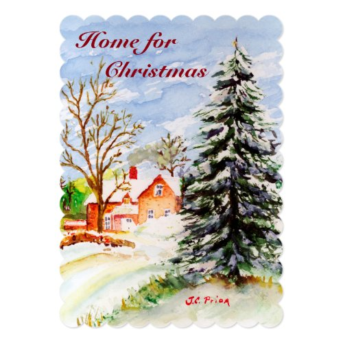 Home for Christmas Snowy Winter Scene Watercolor Card