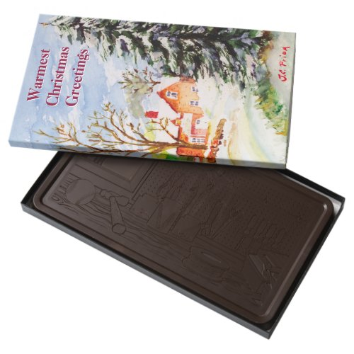 Home for Christmas Snowy Winter Scene Watercolor Dark Chocolate Bar