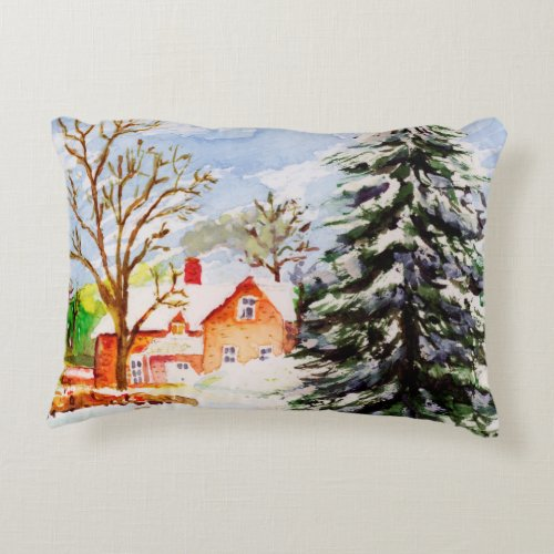Home for Christmas Snowy Winter Scene Watercolor Decorative Pillow